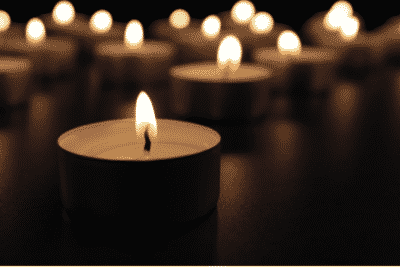 A cluster of lit candles
